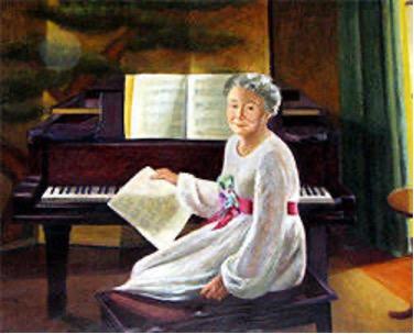 Painting of Justine Bayard Cutting at a piano